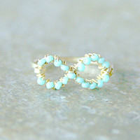 Turquoise Infinity Ring Above Knuckle Midi Ring Gold or Silver Filled Made to Order