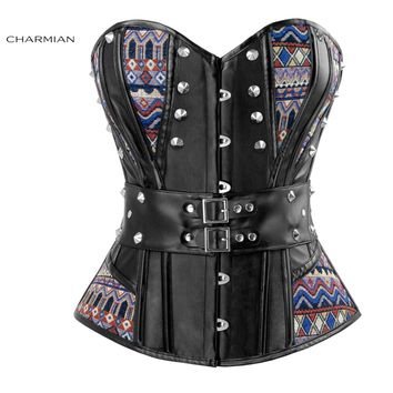 Charmian Women's Steampunk Overbust Corset Sexy Black Punk Rivets Corsets and Bustiers Rock N Roll Waist Trainer Shaper