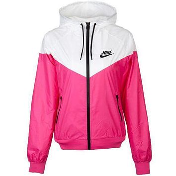 Nike Jacket Women Men Hooded Zipper Cardigan Sweatshirt Coat Windbreaker Sportswear