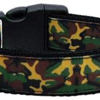 Green Camo Nylon Ribbon Dog Collars Large
