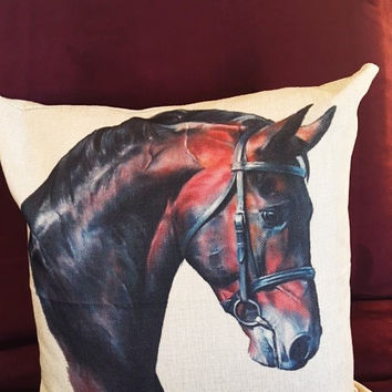 Classy Warmblood Cotton Linen Horse Throw Pillow