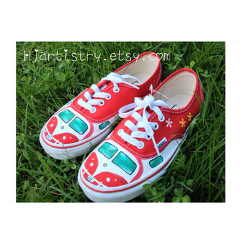 Volkswagen Camper-Van, retro, hippie, Painted Vans, Toms, Converse shoes, sneakers. Vw shoes