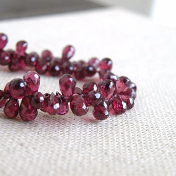 Rhodolite Garnet Briolette AAA Purple Maroon Faceted Teardrop 4 to 6mm 1/2 Strand Wholesale