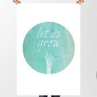 Watercolor Print Art Print Wall Art, Poster Mint Art Print Dorm Nature Quote Gift for Girls Grow Motivational Poster Inspirational Print