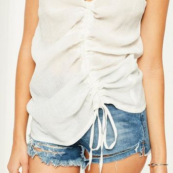 Missguided - White Ruched Cami Top