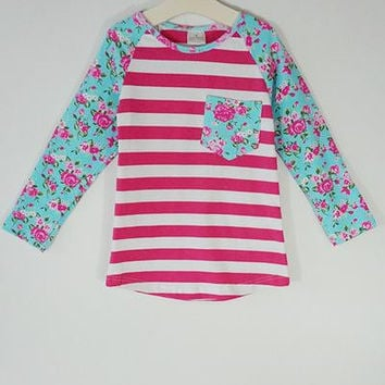 Girls Striped Floral Raglan Top
