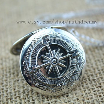 the siler compass locket necklace Antique jewelry steampunk Unique gift golden compass