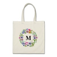 Canvas bag Watercolor Floral Personalized Monogram
