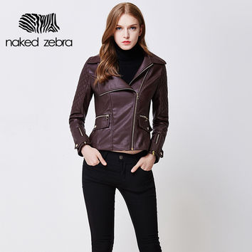 Jacket PU Leather Full Sleeve Solid Color Locomotive Wind Jackets Cool Turn-Down Collar Leather Coats