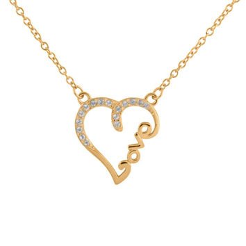 """Sterling Silver 14k Gold Plated Diamond Accent """"LOVE"""" Heart Necklace, 18"""""""