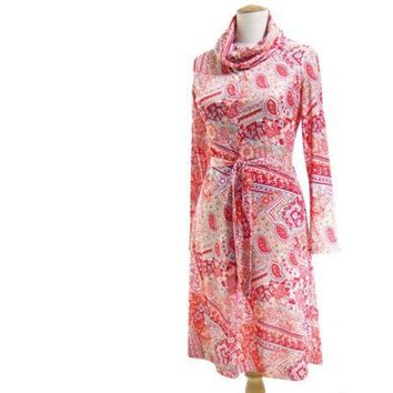 Vintage 70s A Line Dress Cowl Neck Paisley Peach Red Gray Knit Jersey