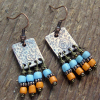 Hammered Copper Dangle Earrings Bohemian Jewelry