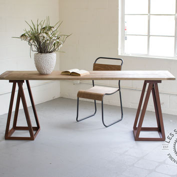 Numéro 7 Wooden Dining Table with Iron Sawhorse Legs