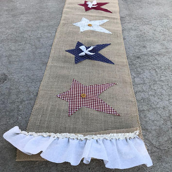 Primitive Fourth of July decor, Burlap table runner, stars and stripes, red white and blue, american flag, american decor, military decor