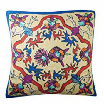 Mogul Decorative Cushion Cover Bold Embroidered Multi Color Sofa Throw Pillow Cover 16X16 (Multi-2): Amazon.ca: Clothing & Accessories