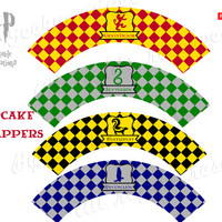 Cupcake wrappers Harry Potter Party inspired, birthday decoration PDF printable - Hogwarts houses : Slytherin, Gryffindor, Hufflepuff...