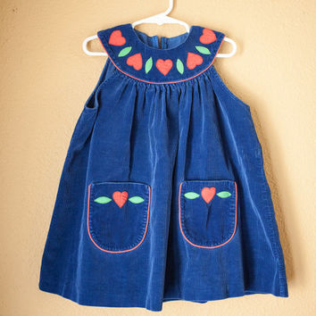 Vintage 80s Girls Dress | Blue Corduroy Toddler Dress Baby Girl Primary Colors Retro Baby Clothes Hipster Overalls Kids Childrens Hearts