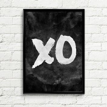 "Typography Poster 006 ""XO"" - Instant Download Love Wall Poster Screenprint Wall Decor Printable Art Home Decor Letterpress Style Motivation"