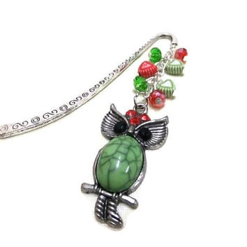 Green Owl Bookmark, Beaded Bookmark, Green and Red Bookmark, Metal Bookmark, Book Ornament, Student Gift, Teachers Gift, Booklovers, Owls