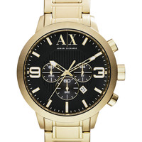 A|X Armani Exchange Men's Chronograph Gold-Tone Stainless Steel Bracelet Watch 49mm AX1357