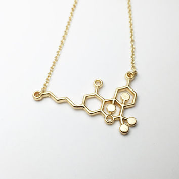 THC Molecule Necklace Marijuana Necklace Chemistry Necklace Science Jewelry Pot Necklace Geek Gift Geekery Stoner Wear Gold Jewelry Pendant