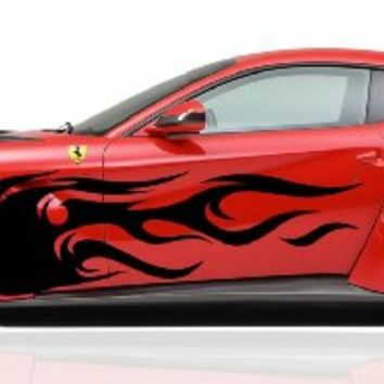 Flame Tribal Tattoo Street Racing Design Racing Drift Tuned Car Vinyl Graphics SUV Tr038