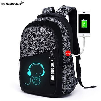 FENGDONG Brand Designer Backpacks Male Luminous Doodles USB Charge Bags Back Pack Oxford College Bags Youth Fashion Men Backpack