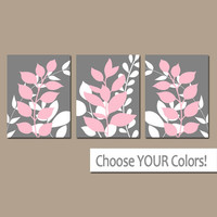 PINK GRAY Wall Art, Bedroom Pictures, Leaves CANVAS or Prints Leaf Bathroom Artwork, Foliage Pictures, Flower Art, Set of 3 Home Decor