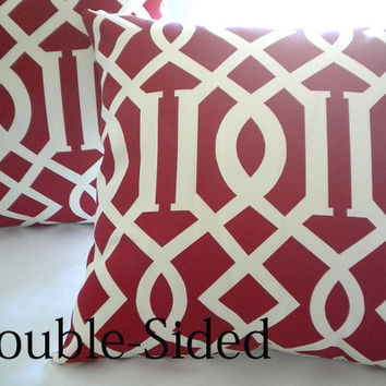 Red Ivory pillow cover Lattice Trellis  18 x 18 Double Sided