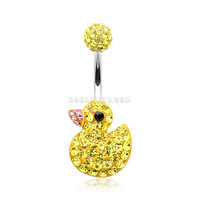 Cute Rubber Duck Multi-Gem Sparkle Belly Button Ring (Yellow)