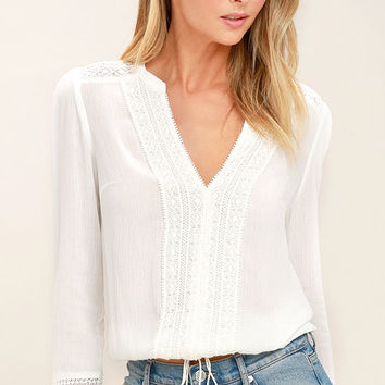 Bali Daydream White Lace Long Sleeve Top