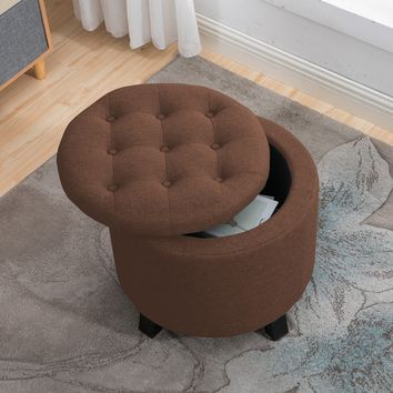 Upholstered Tufted Round Shape Storage Ottoman