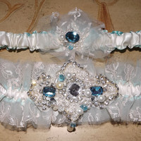 Crystal Couture Something Blue Tulle Hand Beaded Swarovski Crystals, Beads, Rhinestones Pearls OOAK