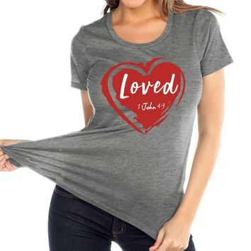Loved Women's Christian Relaxed Fit Crew Neck T Shirt