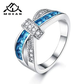 MDEAN White Gold Color  Rings for Women AAA Zircon Jewelry Fashion Wedding Women Rings for Engagement  Size 5 - 12 XR011