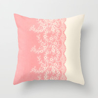 Lace #CoralPink Throw Pillow by Armine Nersisian