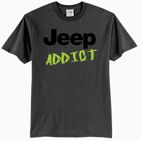 Charcoal Gray Jeep Addict Adult T-Shirt