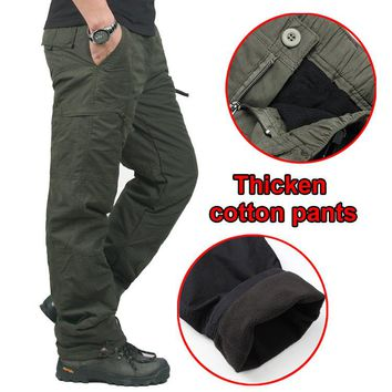 Winter Double Layer Men's Cargo Pants Men Warm Thick Baggy Cotton Outdoors Trousers Casual Army Military Camouflage Tactical