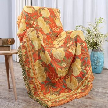 Drop Ship Peach Cotton Sofa Throw Blanket Knitted Chair Sofa Cover Towel Couch Carpet Soft Travel Plaids Cover Bedding Tapestry
