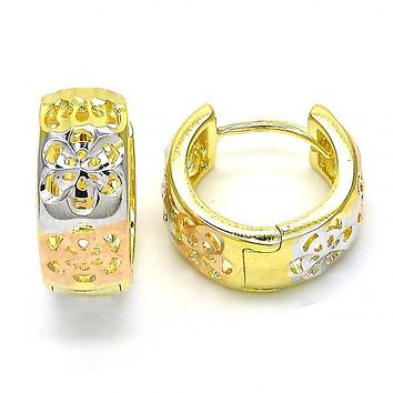 Gold Layered 02.26.0202.15 Huggie Hoop, Flower Design, Diamond Cutting Finish, Tri Tone