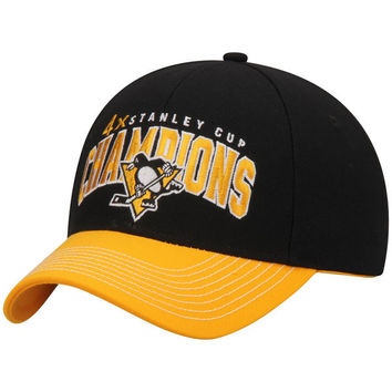 Men's Pittsburgh Penguins Reebok Black/Gold 4-Time Stanley Cup Champions Structured Adjustable Hat