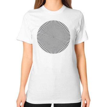 Circle with kinetic art Unisex T-Shirt (on woman)