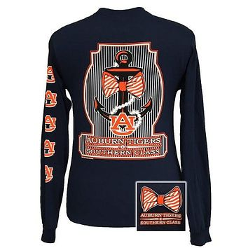 SALE Auburn Tigers War Eagle Classy Anchor Pearls Bow Long Sleeve T Shirt
