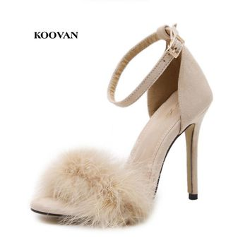 Koovan Women Sandals Fur 2017 New Fashion Plush Fish Mouth High Heels 11cm Sandals 43 Large Size Shoes Cross-border Lady Summer