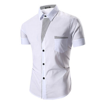 Mens Casual Summer Turn-down Collar Striped Patchwork Short Sleeves Dress Shirt