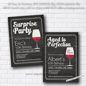 Aged to Perfection, wine invitation,  Surprise birthday wine chalkboard wine birthday invitation 30th 40th 50th 60th 70th 80 - card 197