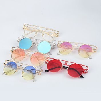 Metal frame steampunk round  sunglasses for women