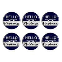 Phoenix Hello My Name Is Plastic Resin Button Set of 6