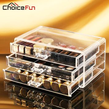 CHOICE FUN Acrylic Make Up Organizer 3 Drawers Storage Box Clear Plastic Cosmetic Storage Box Makeup Organizer Storage SF-1005-1