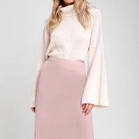 Seraphina Dusty Rose Satin Midi Skirt
